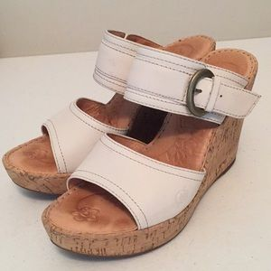 Born two band cork wedge sandals